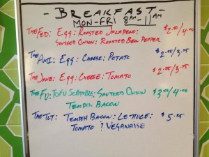 Maoz Austin breakfast menu